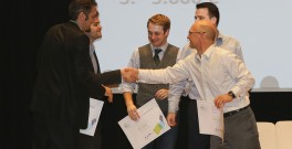 Winners of Venture Competition 2014 congratulating each other