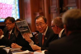 United Nations Secretary-General Ban Ki-moon being presented with an advance copy of the Compact of States and Regions 'Disclosure Report' by Premier Jay Weatherill of South Australia, at COP21 in Paris.